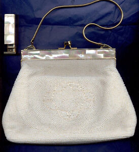BEADED VINTAGE BAG IVORY COLOR W CARRY STRAP & LIPSTICK HOLDER