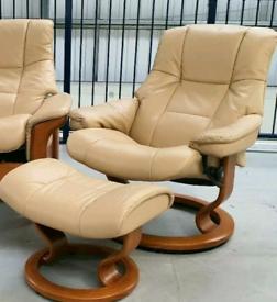 Ekornes stressless chair recliner & 1 stool 1602201