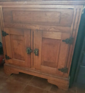 Large Antique Ice Box Cabinet OBO