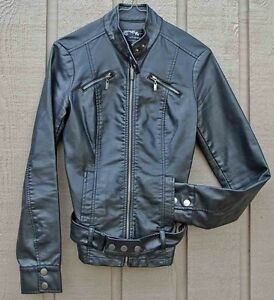 Womens Ladies Small BLACK Motorcycle Style Jacket, Fake Leather