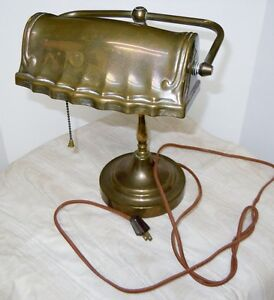 VINTAGE BRASS BANKER'S DESK LAMP=REDUCED!!!!!