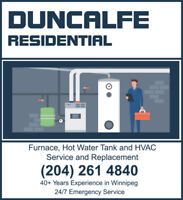 Furnace, HVAC and Hot Water Tank Replacement and Repair