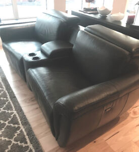 100% Leather Dual-Power Reclining Home Theatre
