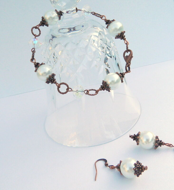 Clear Crystal White Pearl Vintage Victorian Style Copper Bracelet & Earring Set