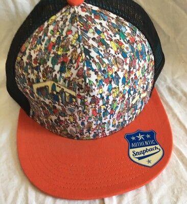 Wheres Waldo Screen Print Trucker Mesh Flat Bill Two Tone Snapback Hat - Waldo Hats