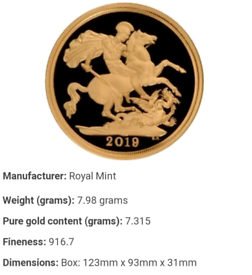 Gold Sovereign (best quality) proof 2019
