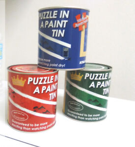 Jigsaw puzzle in paint jars