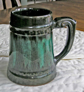 Beer Stein-Red Clay Finished in Brown/Green Glaze