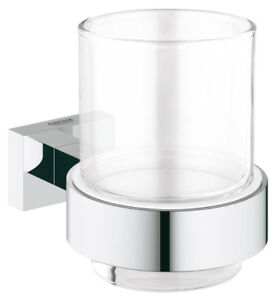 Grohe 40755001 Essentials Cube Crystal Glass With Holder Chrome