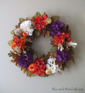 Autumn Hydrangea Wreath/Plum/Burnt Orange/Fall Decor Belleville Belleville Area image 3