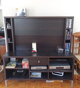 Wooden TV Entertainment Center Unit with Compartments