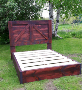 Rustic platform beds and head boards