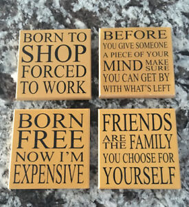 4 Cute Wooden Coasters