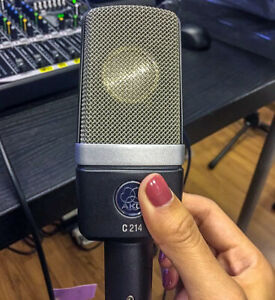 AKG C214 with shockmount, case and windscreen