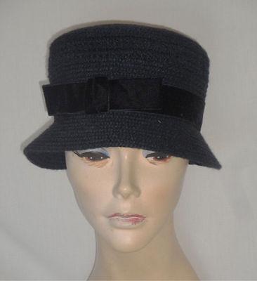 Vintage Black Rows of Braided Fabric Hat Velvet Ribbon Everitt