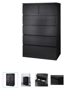 Ikea MALM 6-drawer chest, black-brown