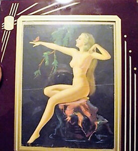 nude girl painting, art deco