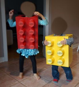 Custom Lego Brick Costume for Kids Child | Yellow and Red