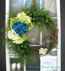 Teal & Lime Easter Wreath/Spring Wreath/Cross Wreath
