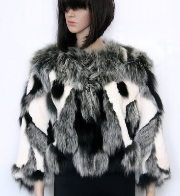Alberto Makali Real Rabbit & Real Fox Fur Black/Ivory Cropped Jacket Size Large for sale  Shipping to Canada