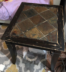 Special antique desk with wood frame and real rock top- $40