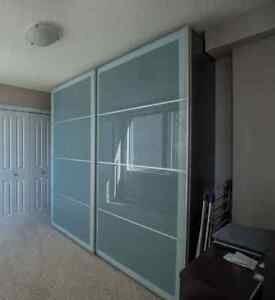 Ikea Pax Wardrobe - Black Brown with Frosted Glass Doors