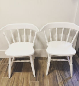 White Wooden Windsor Arm Chairs $65/2