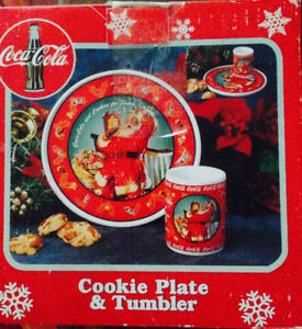 Coca Cola Cookies and Milk Plate and tumbler for Santa