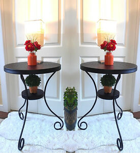 Great Condition! 2 Black Metal Side Table / Planter Stand