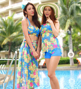 CF63238 three pieces bikini swimsuits with beach cover up-3 pcs