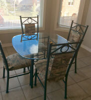 Dining table glass top 4 chairs LOWER PRICE