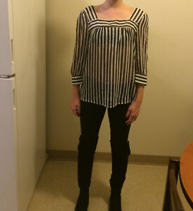 Urban Outfitters Black and White Striped Blouse
