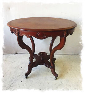 Antique Late Victorian Oak Side Table on Casters
