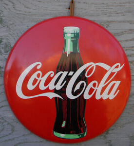 OLD ROUND BUTTON STYLE COCA-COLA HEAVY DUTY METAL SIGN 11 INCHES