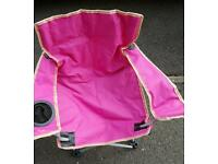 2 childs Folding camping chairs blue and pink