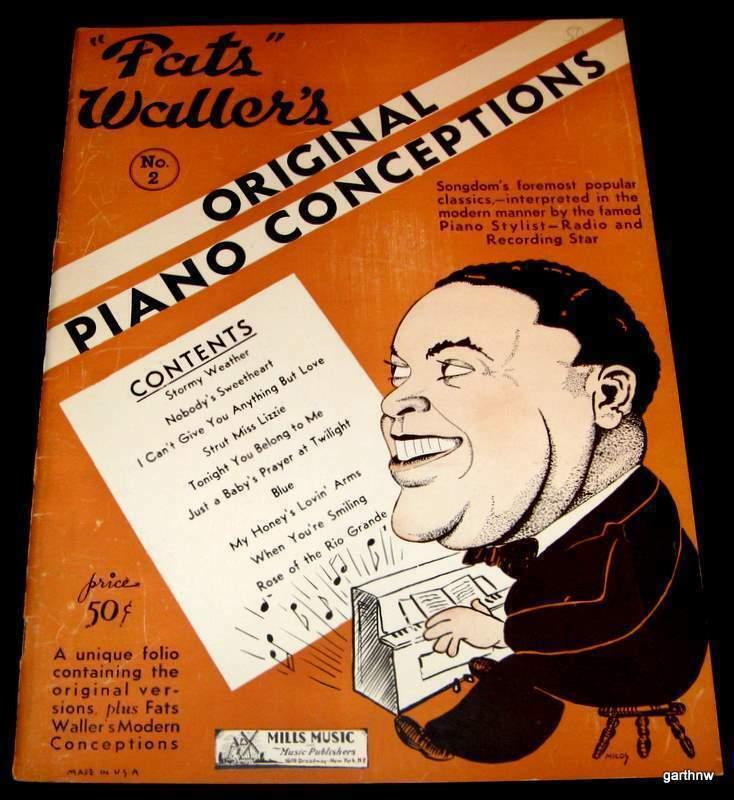 FATS WALLER 1936 ORIGINAL PIANO CONCEPTIONS MUSIC & ART BOOK GREAT CARICATURE