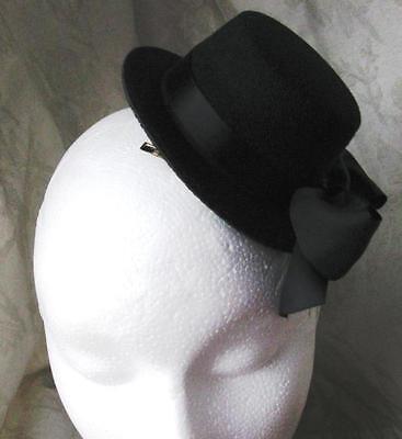 black mini top hat fascinator millinery burlesque wedding hen party fancy dress (Mini Top Hat)