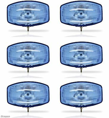 "6x 24v 9.5"" Jumbo Oval Blue ABS Spot Lamp + LED Scania Volvo DAF MAN Truck"