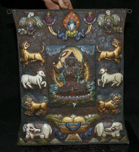 "18"" Old Tibet Temple Bronze Painting Wenshu Manjushri Buddha Tangka Wall Hang"