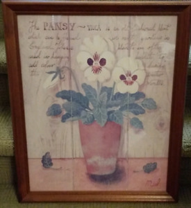 Framed Pansy Picture