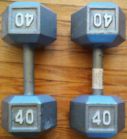 40LB x2 YORK CAST IRON HEX DUMBELL WEIGHTS