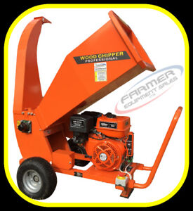 """NEW - 4"""" wood chipper, gas powered 15hp with electric start"""