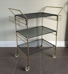 1950's BRASS METAL MESH FRENCH MID CENTURY MODERN DRINKS TROLLEY