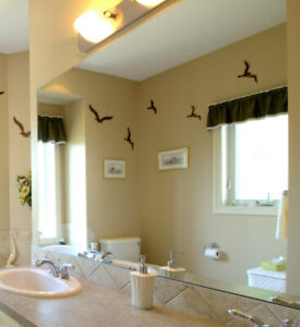 Frameless mirrors 67 inches by 41 inches and 13.75 inches by 41