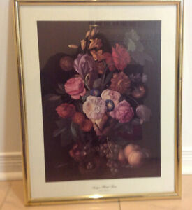 """'Antique Floral Fiesta' In Gold Colored Frame, 20"""" x 16"""""""