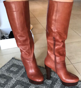 NEW Nine West Brown Leather Tall Boots