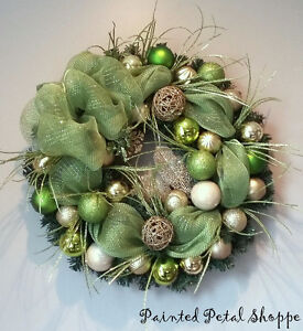 Lime Green & Gold Sparkle Christmas Wreath/ Holiday Wreath Belleville Belleville Area image 2