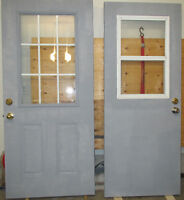 """2 Steel Doors With Deadbolts - 1 is 36"""" 1 is 32"""" - just primed"""