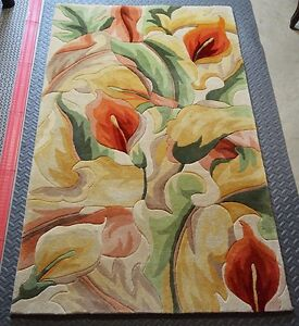 Colorful 100% Carved Wool Area Rug