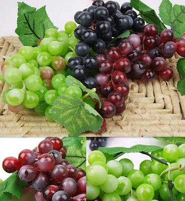 Nice Bunch Lifelike Artificial Grapes Plastic Fake Fruit Home Decoration  JG